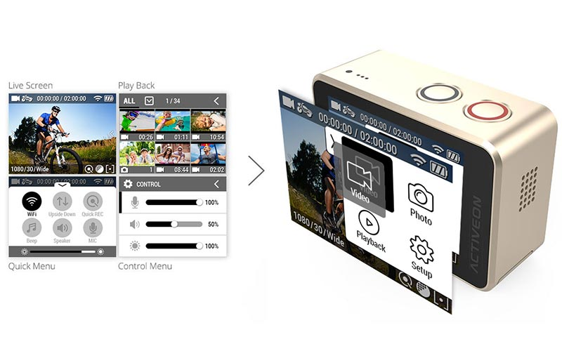 activeon-cx-gold action camera operating system
