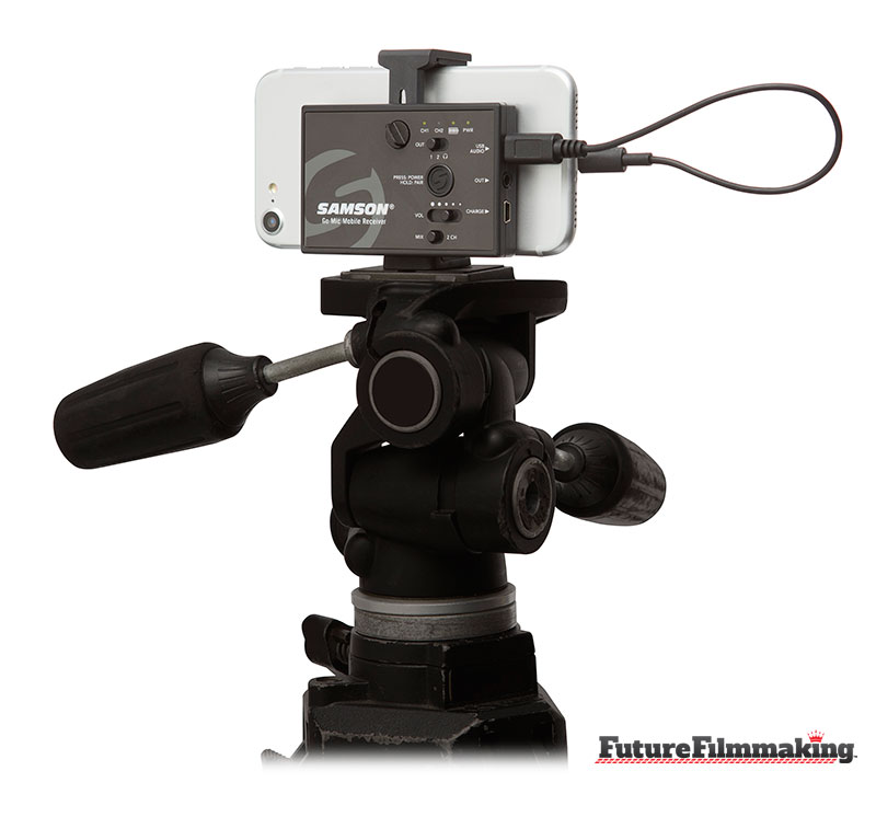 samson go mic mounted on tripod iphone by futurefilmmaking