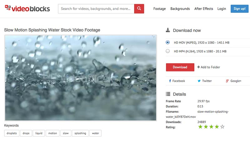 VideoBlocks Interface
